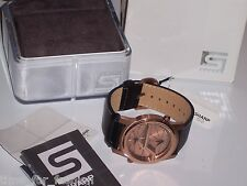 "Men's SHARP S12 ""VOLT"" Dual Time Black Leather Watch Quartz Rose Gold"