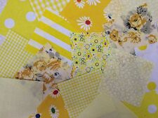"""50 x 4"""" Yellow Collection poly cotton fabric patchwork squares Craft Quilting"""