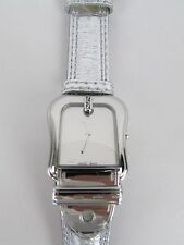 FENDI Swiss Watch Buckle Fendi Silver Metallic Leather 064-3800G-740