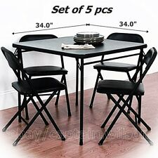 Folding Dining Table Set of 5 Table + 4 Chairs Black Card Game Party