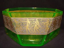 Moser Uranium Glass Bowl with Neo Classical Frieze
