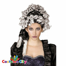 Para Mujer Halloween Condesa Blanco Y Negro Peluca Fancy Dress Costume Accesorio