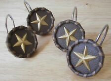 WESTERN TEXAS STAR SHOWER CURTAIN HOOKS,CHOCOLATE, LACED SET OF 12