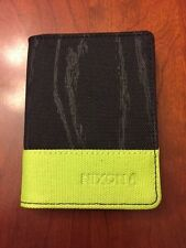 MENS NIXON ATLAS CANVAS RF CARD WALLET BLACK/LIME NEW WITH TAGS