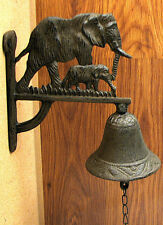 Cast Iron Wall Mount Elephant Dinner Bell Indoor or Outdoor