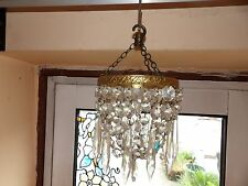 UNUSUAL ANTIQUE SMALL BAG & DROPLET CRYSTAL SET CHANDELIER WITH CHAINS & HOOK