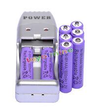 8X Batería recargable NiMH AAA 3A 1800mah 1.2V púrpura + Cargador USB