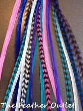 Lot 20 Grizzly Feathers Hair Extensions saddle XL 100% Blue Pink Real, Cool Girl