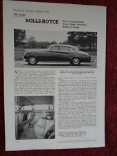 ROLLS ROYCE Silver Cloud Limousine LWB 1957 1958 Road Test brochure - The Motor