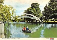 BR83452 suspension bridge and river ouse bedford boat  uk