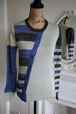 BNWT John Galliano Blue Black Gold Cardigan XS Geometric Knit Asymmetric Buttons
