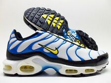 NIKE AIR MAX PLUS WHITE/TOUR YELLOW-PHOTO BLUE-BLACK SIZE MEN'S 9 [604133-133]