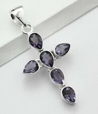 PURPLE AMETHYST STONE 925 STERLING SILVER CROSS NECKLACE PENDANT SIZE 1 7/8""