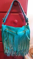 Turquoise Fringe Large PU Leather purse tote