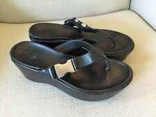 PRADA BLACK FLIP FLOPS LEATHER STRAPS WITH BUCKLE WEDGE SANDALS SIZE 37
