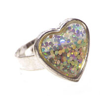 Iridescent & Sparkling Chrome Love Heart & One Size Fits All Ring (Zx155)