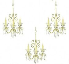 3 Chandelier Distressed Ivory Candleholder Wedding Party Hanging Decor - Set