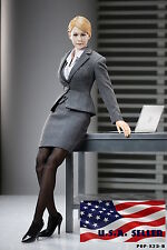 "1/6 Women Business Suit Skirt Set GRAY For 12"" Phicen Hot Toys Kumik Female"
