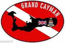 Grand Cayman Dive Sticker Diver Down Dive Flag Sticker Decal 4x6