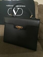 Valentino Garavani Black Leather Kelly Handbag- Vintage- Gorgeous!