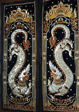 "Burmese Kalaga Traditional Embroidered Wall Tapestry Set Of 2 Dragon (52"" X 20"")"