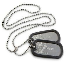 Standard Military Issue Dog Tags Set Personalized w/ black silencers and chains
