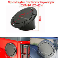 FOR Jeep JK WRANGLER Stainless Steel Gas Cap Fuel Cover Trims Door Black
