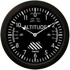 "Trintec 14"" Classic Altimeter Clock - Black - Hangar FBO or Garage - 9060-14"