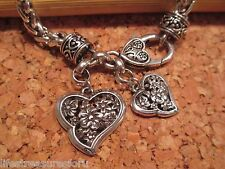 BRIGHTON Silver HEARTS and FLOWERS Charms Bracelet Jewelry NWOT