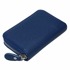 Leather Wallets For Womens Zip Round Mini Credit Card Case Purse ID Holders