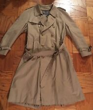 BURBERRY MENS TRENCH COAT BEIGE LARGE DOUBLE BREASTED PLAID LINING LONDON