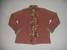 "Womens Sweater-SUSAN BRISTOL-""Hand Embroidered""wool/cotton embellished cardign-L"