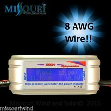 200 Amp Watt Meter WITH SPECIAL HEAVY AWG WIRE 4 HI/AMPS Solar PV / Wind Turbine