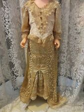 AUTHENTIC DOLL MUSEUM ANTIQUE VELVET LACE BISQUE DOLL BUSTLE GOWN DRESS