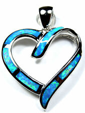 Beautiful Blue Fire Opal Inlay 925 Sterling Silver Heart Pendant For Necklace