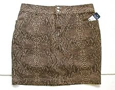 NWT Chaps Brown Snakeskin Print Stretch Cotton Straight Pencil Skirt 14