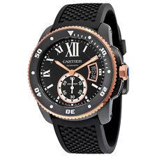 Cartier Calibre De Cartier Diver Automatic Black Dial Black Rubber Mens Watch