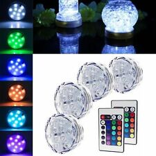 10 LED Multi Color RGB Submersible Underwater Party Vase Base Light Bulb Remote
