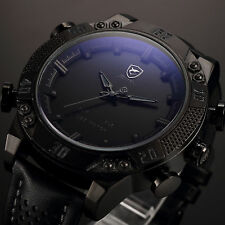 Kitefin SHARK Men's Black LED Digital Leather Stylish Sport Date Day Wrist Watch