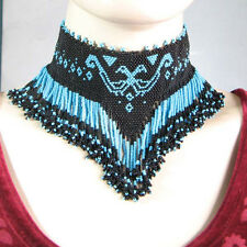 BLACK BLUE NATIVE AMERICAN STYLE EAGLE CHOKER NECKLACE N8/4