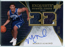 2007-08 Exquisite MORRIS ALMOND Auto Number Pieces Dual Patch RC SP #/22