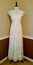 Modcloth Wedding Dress 4X Ivory Lace Maxi Vintage Boho Memorable Matrimony $250