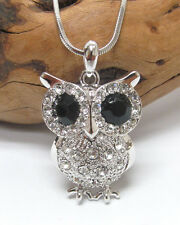 w Swarovski Crystal White Gold Plating Wise Owl Pendant Necklace Gift Box