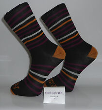 Grey Socks with Orange Heel and Toes and Orange, Maroon and White Stripes