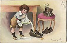 BAD BOY Pouring FISH into Galoshes Scissors In Top Hat Postcard Artist NAIL 1907