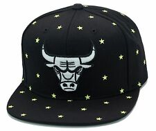 Mitchell & Ness Chicago Bulls Snapback Hat All Black/Glow In The Dark Stars cap