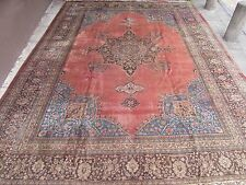 Antique Old Traditional Persian Rug Wool Pink Oriental Hand Made Rug 467x346cm