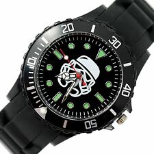 STARWARS STAR CLONE WARS Stainless Steel BLACK SILICONE FILM ROUND SCI FI WATCH