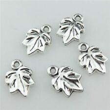 20716 40pcs Vintage Silver Alloy Plant 15mm Maple Leaf Pendant Jewelry Findings
