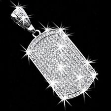 "3.75"" HUGE Micro Pave Set Crystal Cz Dog Tag Pendant Medallion Slide Mens Ladies"